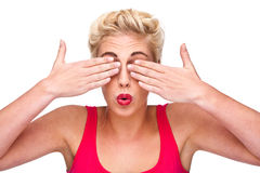 Vue - femme couvrant ses yeux Image stock
