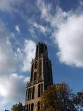 Vue frontale de Dom Tower néerlandais d'Utrecht Image stock