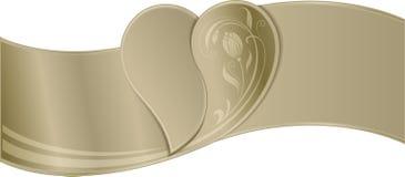 Vue - frontière du ruban d'or avec l'image du coeur dans t Photos libres de droits