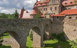 Vue générale de château de Czocha Images libres de droits