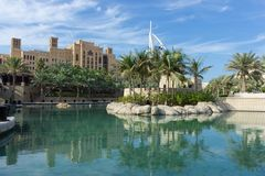 Vue générale du ` s hôtel de luxe de sept premier du monde étoiles Burj Photo stock