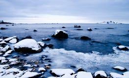 Vue gelée de paysage marin photographie stock