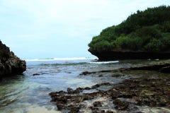 Vue gentille de plage et de corail avec l'île dans l'océan image libre de droits
