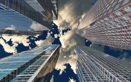 Vue gentille des gratte-ciel contre le ciel avec des nuages Photo libre de droits