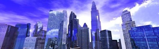 Vue gentille des gratte-ciel contre le ciel avec des nuages Photos libres de droits