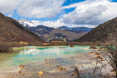 Vue gentille en parc national Chine ofSichuan de Huanglong Photo stock