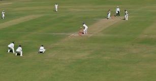 Vue grande-angulaire d'au sol de cricket Photographie stock