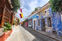 Vue grande-angulaire d'une rue à Carthagène Image libre de droits