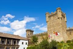 Vue grande-angulaire de château d'Oropesa Images stock