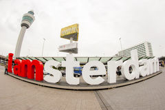 Vue grande-angulaire de je suis signe d'Amsterdam Photos libres de droits
