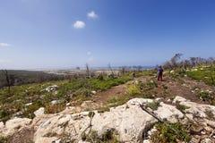 Excursion sur le terrain sur les collines Images stock