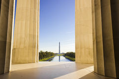 Vue grande sur le mail national dans le Washington DC de Lincoln Memorial Photo stock