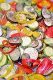 Vue grillée de plan rapproché de légumes Photographie stock libre de droits