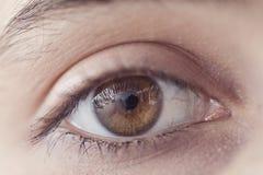 Vue haute étroite de yeux ouverts de jeune femme Photos stock