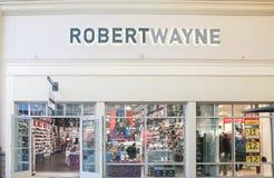 Vue haute étroite du magasin d'usine de Robert Wayne au New Jersey photos libres de droits