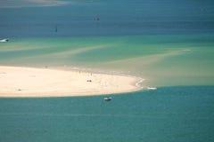 Vue horizontale sur l'Océan Atlantique avec des bateaux par le pyla dunaire Images stock