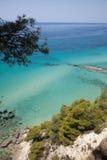 Vue idyllique de la belle plage de la Grèce, siviri Mediterrane Image libre de droits