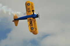 Vue inférieure de biplan de Stearman Images libres de droits