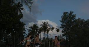 Vue inférieure de deux jeunes couples marchant sur la plage au crépuscule, contre les hommes gais et aux femmes tenant des mains  banque de vidéos