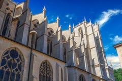 Vue inférieure latérale d'une partie de saint Jean-Baptiste de cathédrale à Lyon, France Images stock