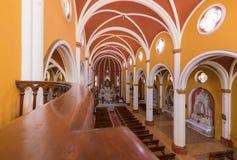 Vue intérieure d'église de Recoleta de La d'Arequipa ci-dessus Pérou photographie stock libre de droits