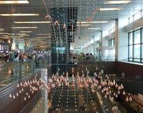 Vue intérieure d'aéroport de Changi à Singapour Image libre de droits
