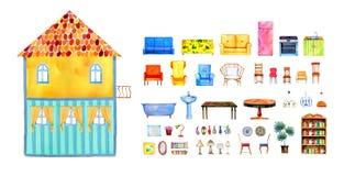 Vue intérieure de maison de poupée à deux étages vide de papier de bande dessinée avec l'ensemble de meubles Illustration tirée p illustration libre de droits