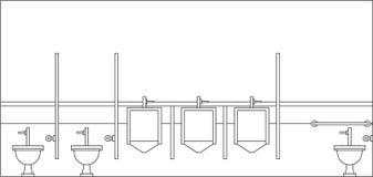 vue intérieure de toilettes d'hommes illustration libre de droits