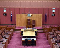 Vue intérieure du sénat australien dans la Chambre du Parlement, Canberra image libre de droits