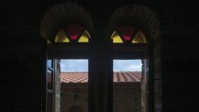 Vue intérieure en bois de monastère de Varlaam, Meteora images stock