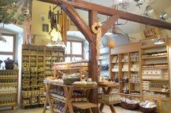 Magasin pour les produits organiques à Prague Images stock