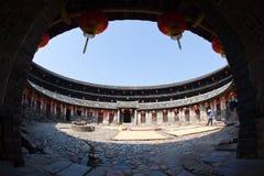 Vue intérieure de la construction ronde de la terre de Hakka Photo stock