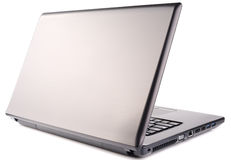 Vue isométrique arrière d'ordinateur portable sur le blanc Photo libre de droits