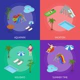 Vue isométrique d'Aqua Park Banner Card Set Vecteur Illustration Stock