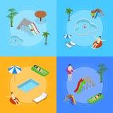 Vue isométrique d'Aqua Park Banner Card Set Vecteur Illustration Libre de Droits