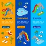 Vue isométrique d'Aqua Park Banner Vecrtical Set Vecteur Illustration de Vecteur