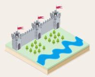 Vue isométrique d'un château médiéval Photos stock