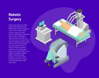 Vue isométrique de chirurgie de carte robotique du concept 3d Vecteur illustration de vecteur