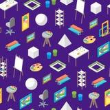 Vue isométrique de fond de Workplace Seamless Pattern d'artiste Vecteur illustration stock