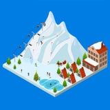 Vue isométrique de Ski Resort Concept 3d Vecteur Photos libres de droits