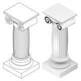 Vue isométrique de style ionique de colonne d'isolement Photographie stock libre de droits