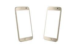 Vue isométrique de téléphone intelligent moderne d'or Écran blanc pour la maquette, d'isolement Photos stock