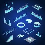 Vue isométrique financière du concept 3d de graphiques de données Vecteur illustration libre de droits
