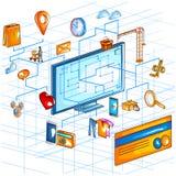 Vue isométrique plate du style 3D d'interface en ligne d'application d'achats de commerce électronique Photo libre de droits
