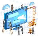 Vue isométrique plate du style 3D de concept en construction ou de travail en cours Image libre de droits