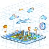 Vue isométrique plate du style 3D de système de localisation mondial GPS pour l'interface d'emplacement Image stock