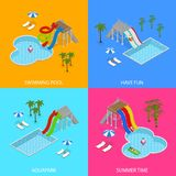 Vue isométrique réglée d'Aqua Park Concept Banner Card Vecteur illustration libre de droits