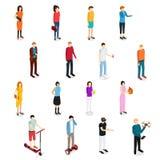 Vue isométrique réglée d'homme et de femme de personnes Vecteur Image stock