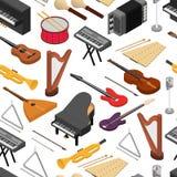 Vue isométrique réglée de modèle de fond d'instruments de musique Vecteur illustration stock