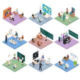 Vue isométrique réglée du concept 3d d'éducation d'école Vecteur Photos stock